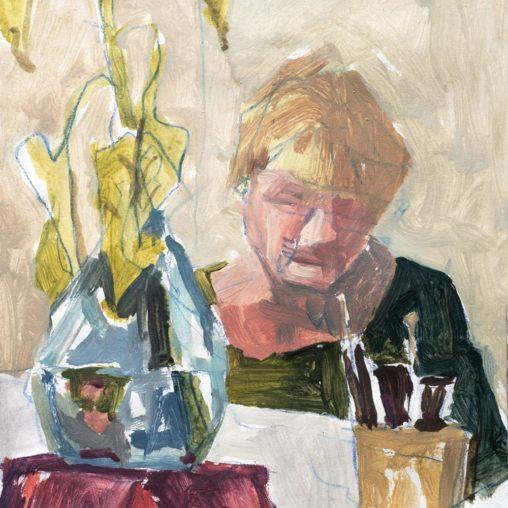 Michel Titeux, Acrylique, portrait, Nadine, A3, 2019